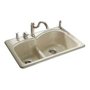 cast iron kitchen sink shop kohler woodfield basin drop in enameled cast