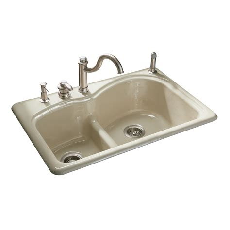 Shop Kohler Woodfield Double Basin Drop In Enameled Cast Cast Iron Kitchen Sinks