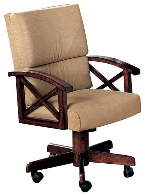 upholstered desk chair with wheels casual beige marietta upholstered arm game chair with