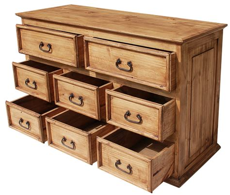 Wormwood Furniture by Rustic Pine Collection Eight Drawer Dresserwithout