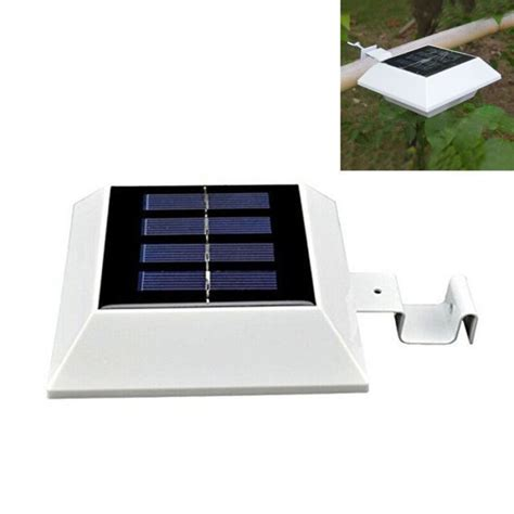 Solar Roof Light Solar Powered 4 Led Gutter Spot Light Outdoor Garden Fence