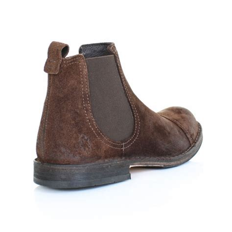 mens brown suede chelsea boots mens fly remo brown suede distress finish pull on