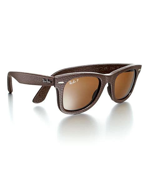 Ban Wayfarer ban womens leatherwrapped wayfarer sunglasses brown in brown for lyst