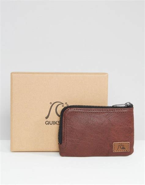 Quicksilver Edges Brown Leather 2 lyst quiksilver quicksilver zip trip wallet in brown leather in brown