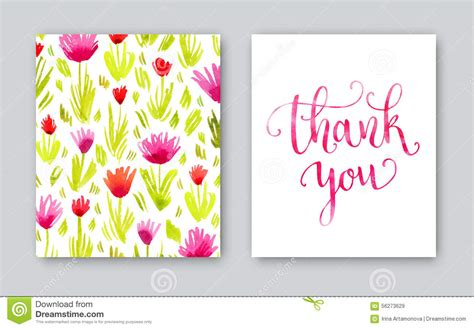 thank you card template for employees watercolor thank you card template stock illustration