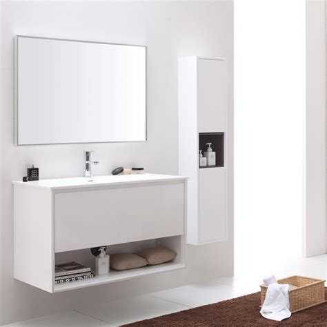 Sonoma Glossy White Bathroom Vanity Set With White Stone Top Zuri Furniture