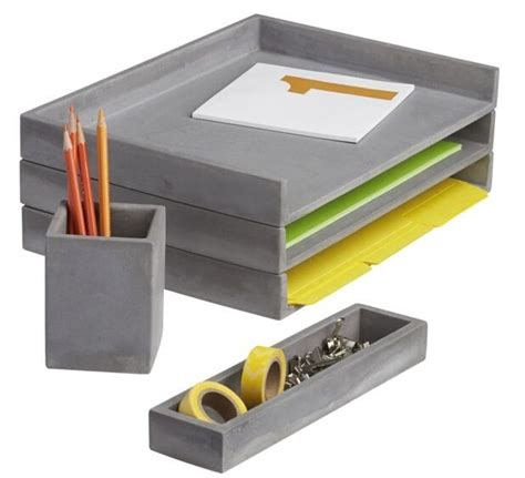 Desk Accessories For Office Cement Desk Accessories Letter Tray Pencil Cup And