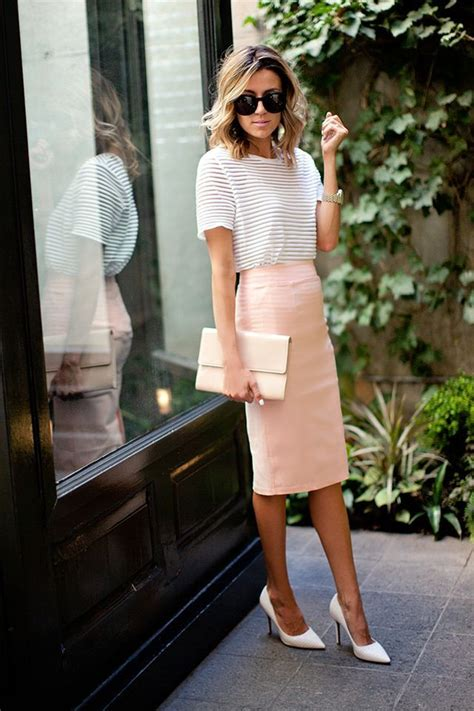 blush pencil skirt and striped clothespiration
