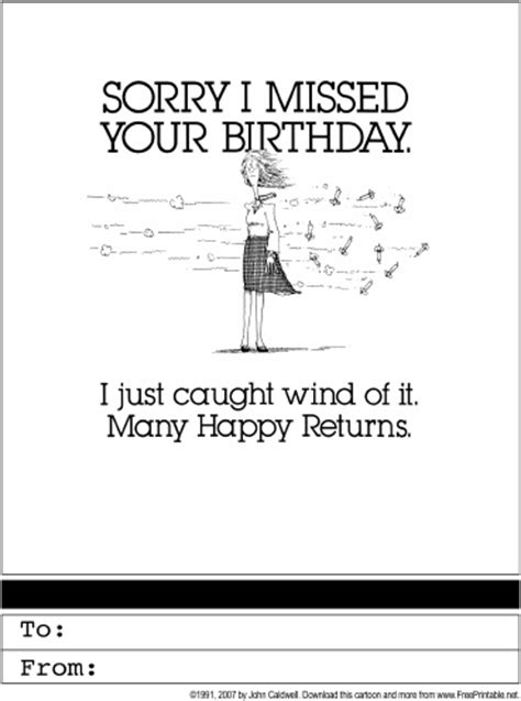 printable birthday cards belated happy belated birthday printable greeting card
