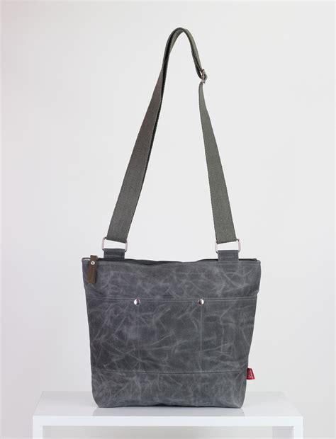 Gray Unisex gray waxed unisex messenger tote bag handmade pocket on