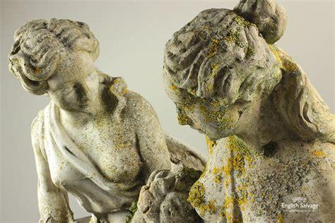 salvaged concrete lady garden statues