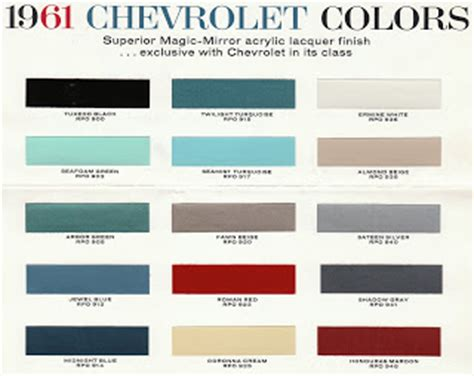gm car paint color chart images