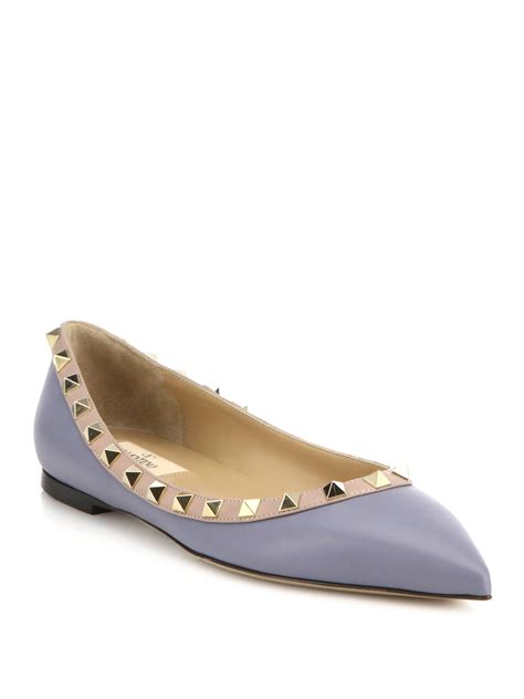 Flats Shoes Valentino 266 4 lyst valentino rockstud two tone leather flats in gray