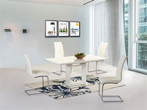 new white high gloss extending dining room table 4 white