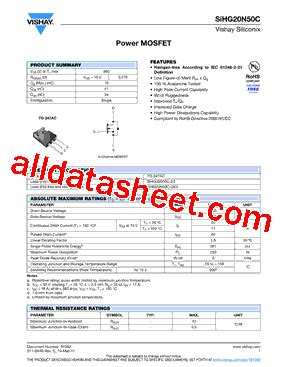 transistor mosfet sihg20n50c sihg20n50c e3 datasheet pdf vishay siliconix