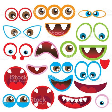 free printable monster eyes and mouth monster eye and mouth vector illustration stock vector art