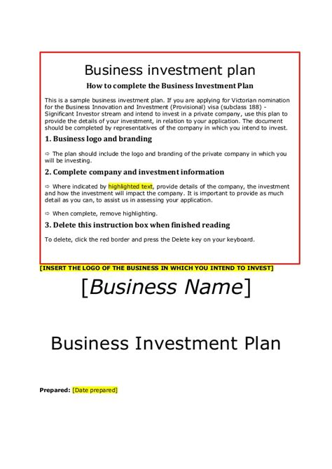 business investment template siv business investment plan template