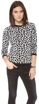 Sweater Leopad Abu Ab lea michele leopard sweater and coach bag popsugar fashion