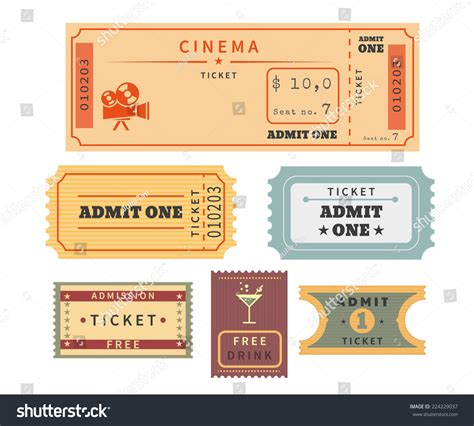 retro ticket place card template retro ticket template set template vector stock vector