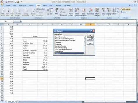 Statistics In Excel Descriptive Statistics Using Quot Data Analysis Quot Tool In Excel