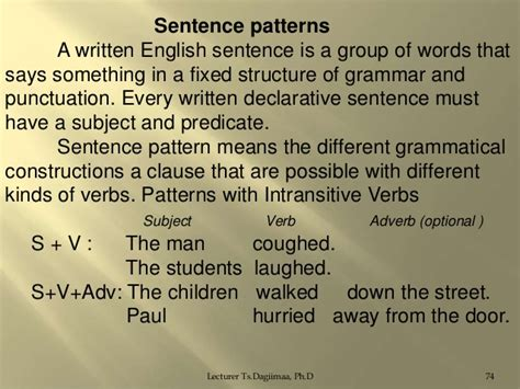 sentence patterns lecture syntax lecture