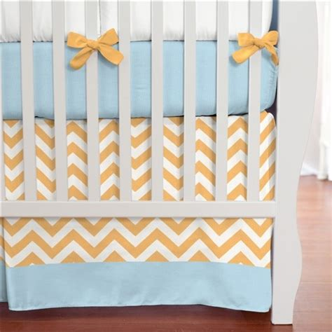 orange baby bedding light orange and aqua chevron crib skirt box pleat with 4