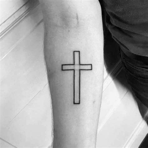 minimalist tattoo cross black ink outline guys simple cross tattoos on inner