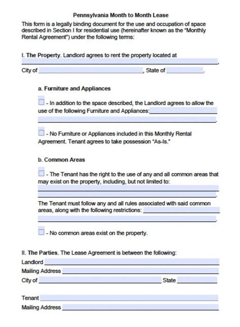 Free Pennsylvania Month To Month Lease Agreement Pdf Word Doc Pa Residential Lease Template