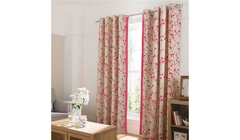 asda nursery curtains george home pink floral curtains with contrast edge
