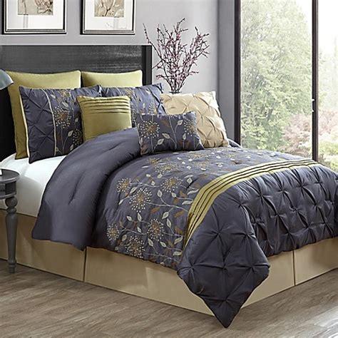 green and grey comforter sets buy prairie 9 piece queen comforter set in green grey from