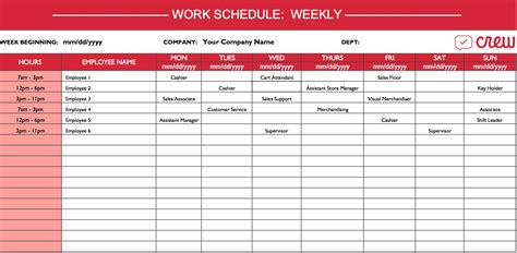 work time schedule template kmart work schedule template crew