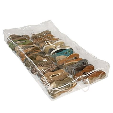 underbed shoe storage organizer buy closetware clear underbed shoe organizer from bed bath