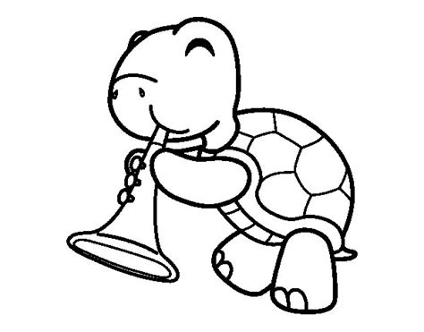 imagenes para pintar musica dibujo de tortuga con trompeta para colorear dibujos net