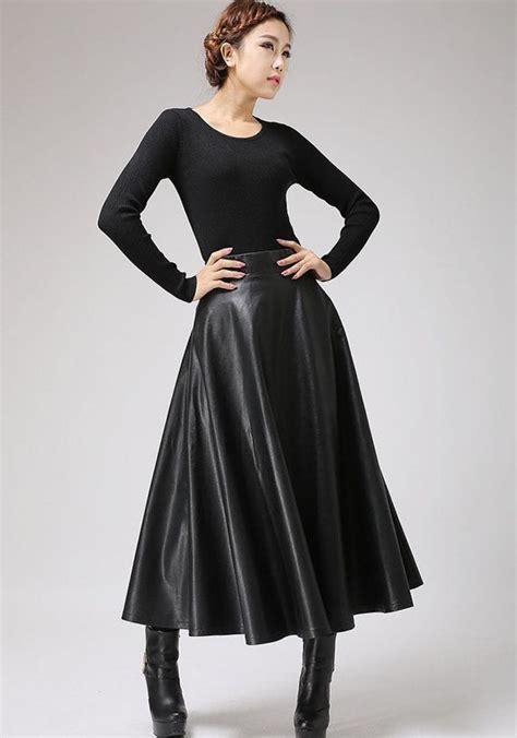 black pu skirt maxi skirt winter skirt 719