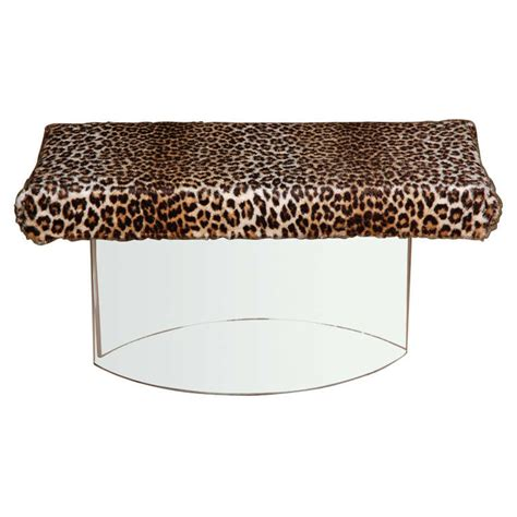 leopard bench furniture lucite bench with leopard upholstery at 1stdibs