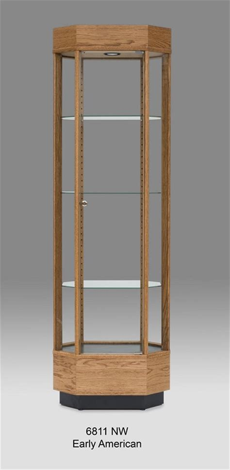 octogon glass display cabinet made of wood tower