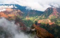 lush island of kauai hawaii waimea canyon stock photo