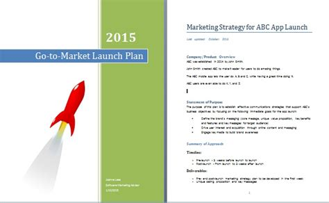 App Go To Market Strategy Plan Marketing Launch Template
