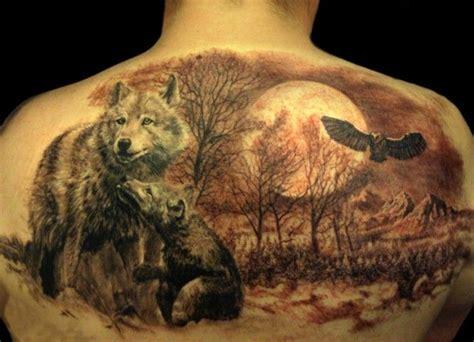 Wolf tattoo on back
