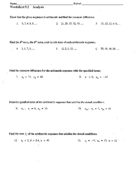 Arithmetic Sequence Practice Worksheet by Arithmetic Series Worksheet Lesupercoin Printables Worksheets