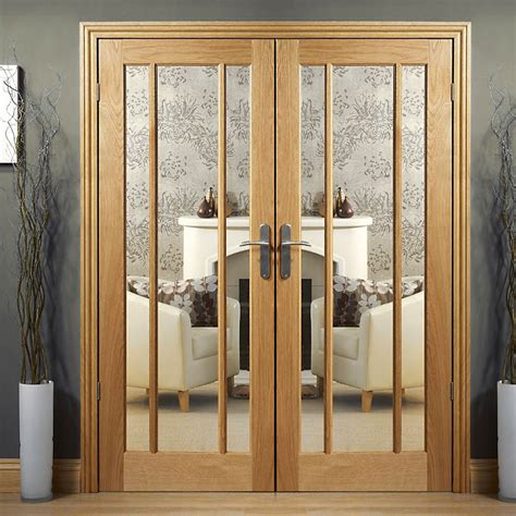 Oak Doors With Glass Worcester Oak Door Pair With Clear Safety Glass Pairmaker