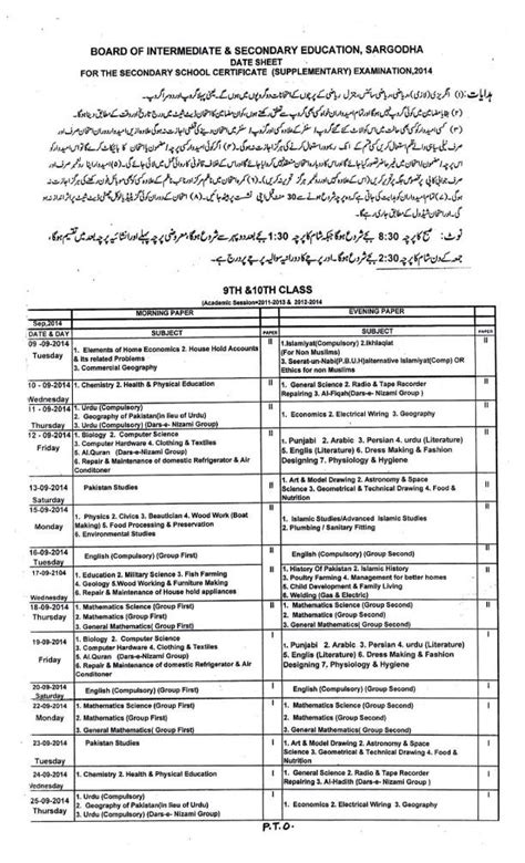 Mba Date Sheet 2014 by Bise Sargodha Date Sheet Supplementary 2014 For Ssc