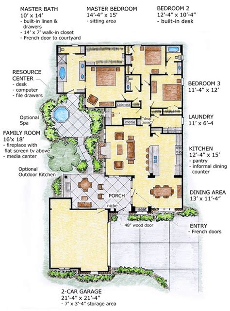 Southwest House Plans With Courtyard Floor Plan Of Florida Mediterranean Southwest House Plan 56518 Courtyard