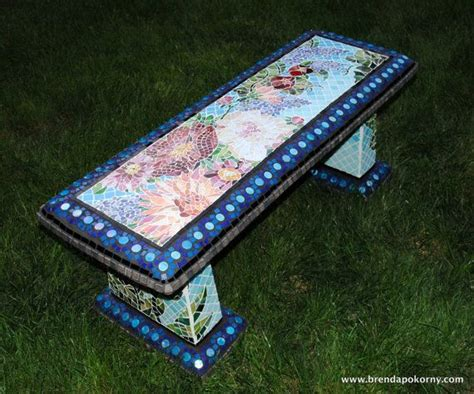 mosaic garden bench custom order one of a kind mosaic garden bench garden accent