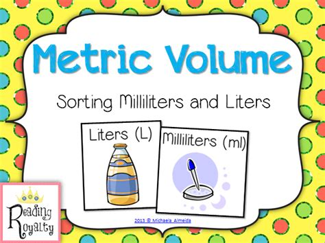 Mililiter To Liter by Metric Volume Milliliter And Liter Sort Activities