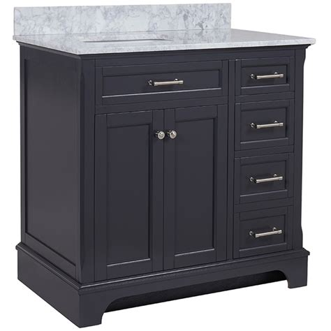 36 In Bathroom Vanity With Top Shop Allen Roth Roveland Gray Undermount Single Sink Bathroom Vanity With Marble Top
