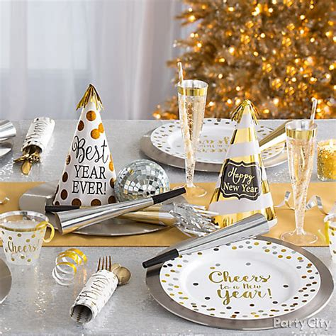 white and gold tablescape idea party city