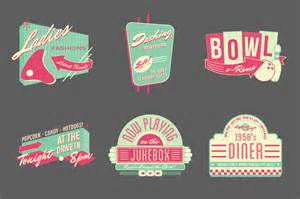 13 retro diner vector logo templates images flat vector
