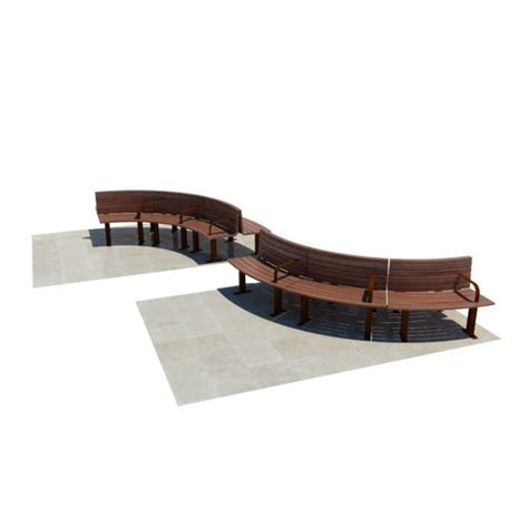 wooden curved bench curved wooden benches 3d model cgtrader com
