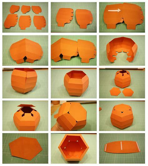How To Make 3d Paper Pumpkins - bits of paper 3d pumpkin box